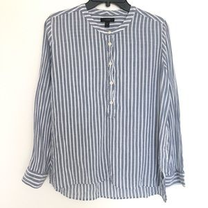 J crew half button up white and blue striped top